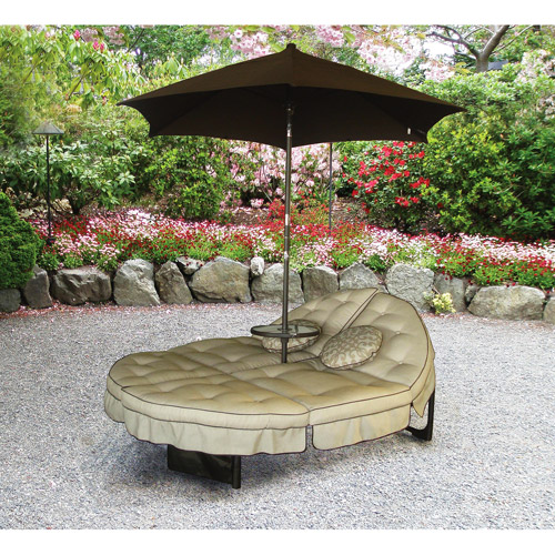 Mainstays Deluxe Orbit Chaise Lounge with Umbrella & Side Table, Seats 2