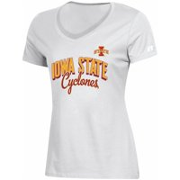 Women's Russell Athletic White Iowa State Cyclones Arch V-Neck T-Shirt