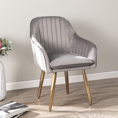 Bajarno Upholstered Accent Chair, Gray and Gold
