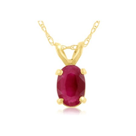.60ct Oval Ruby Pendant in 14k Yellow Gold 14kt Gold Ruby Cross Pendant