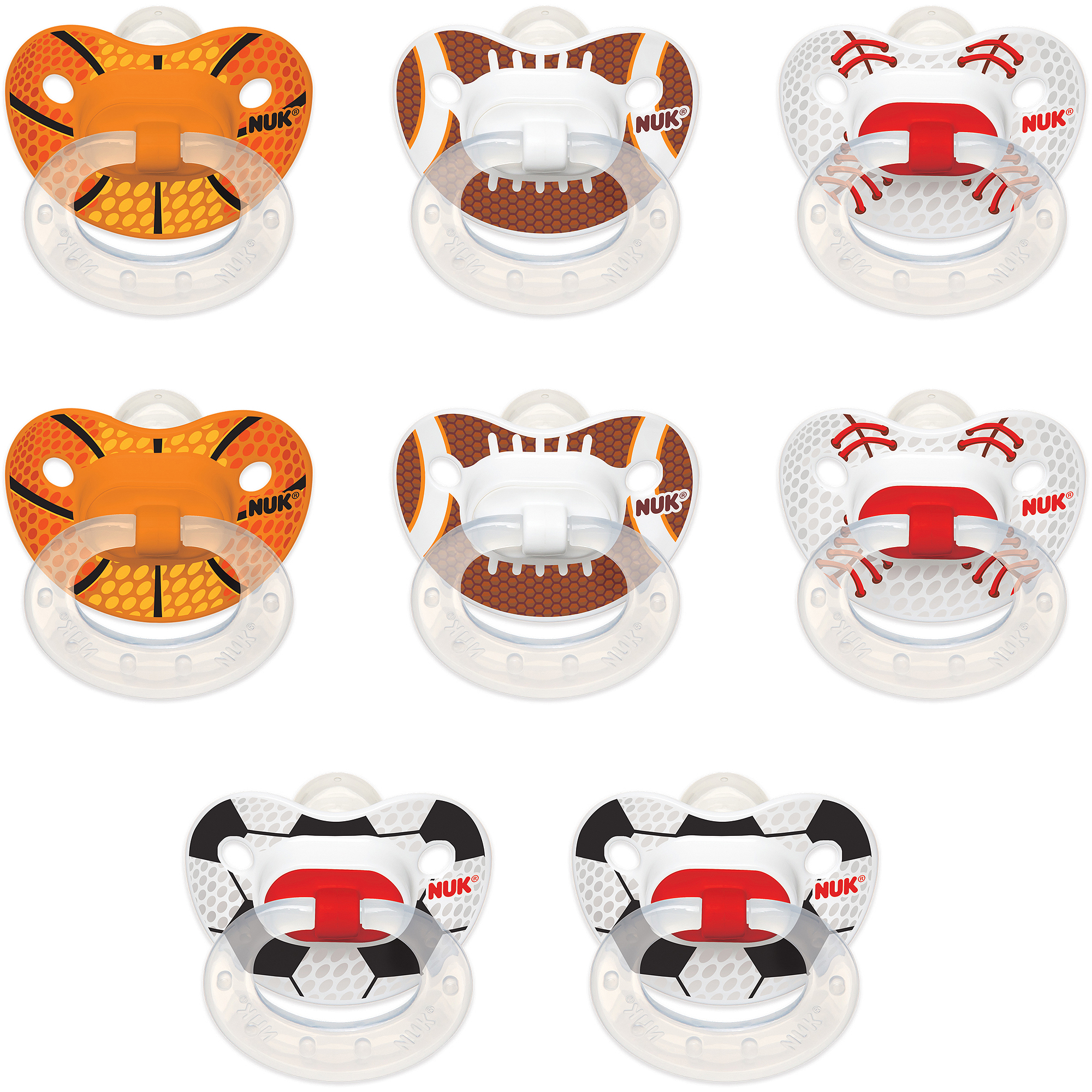 NUK - Classic Silicone Pacifiers (Sizes 1 & 2), 8-Pack  Bundle, Sports