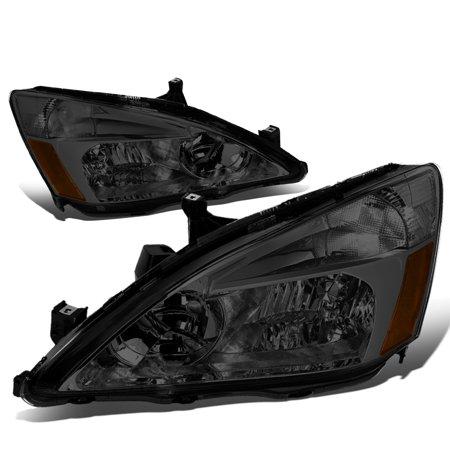 For 03-07 Honda Accord Replacement Headlight Smoked Housing Amber Corner Headlamp 04 05 06 Left+Right