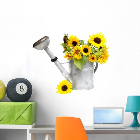 Sunflowers Watering Can Wall Decal by Wallmonkeys Peel and Stick Graph