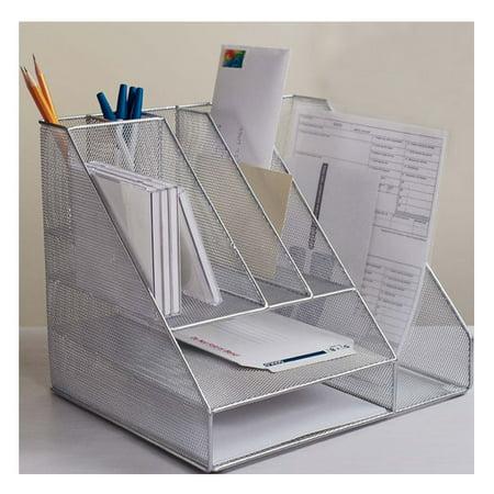 Fine Pro Space Desk Organizer Office Pencil Holder Book Storage Stand Wire Mesh Desktop File Holder Rack Silver Home Remodeling Inspirations Cosmcuboardxyz