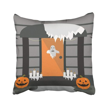 ARTJIA The Exterior Porch House With For Holiday Fall's Halloween With Pumpkins Surrounded Pillowcase Throw Pillow Cover Case 18x18 inches - Porch Light Covers Halloween