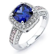 Oliveti Sterling Silver Blue, Pink and White Cubic Zirconia Engagement-style Ring