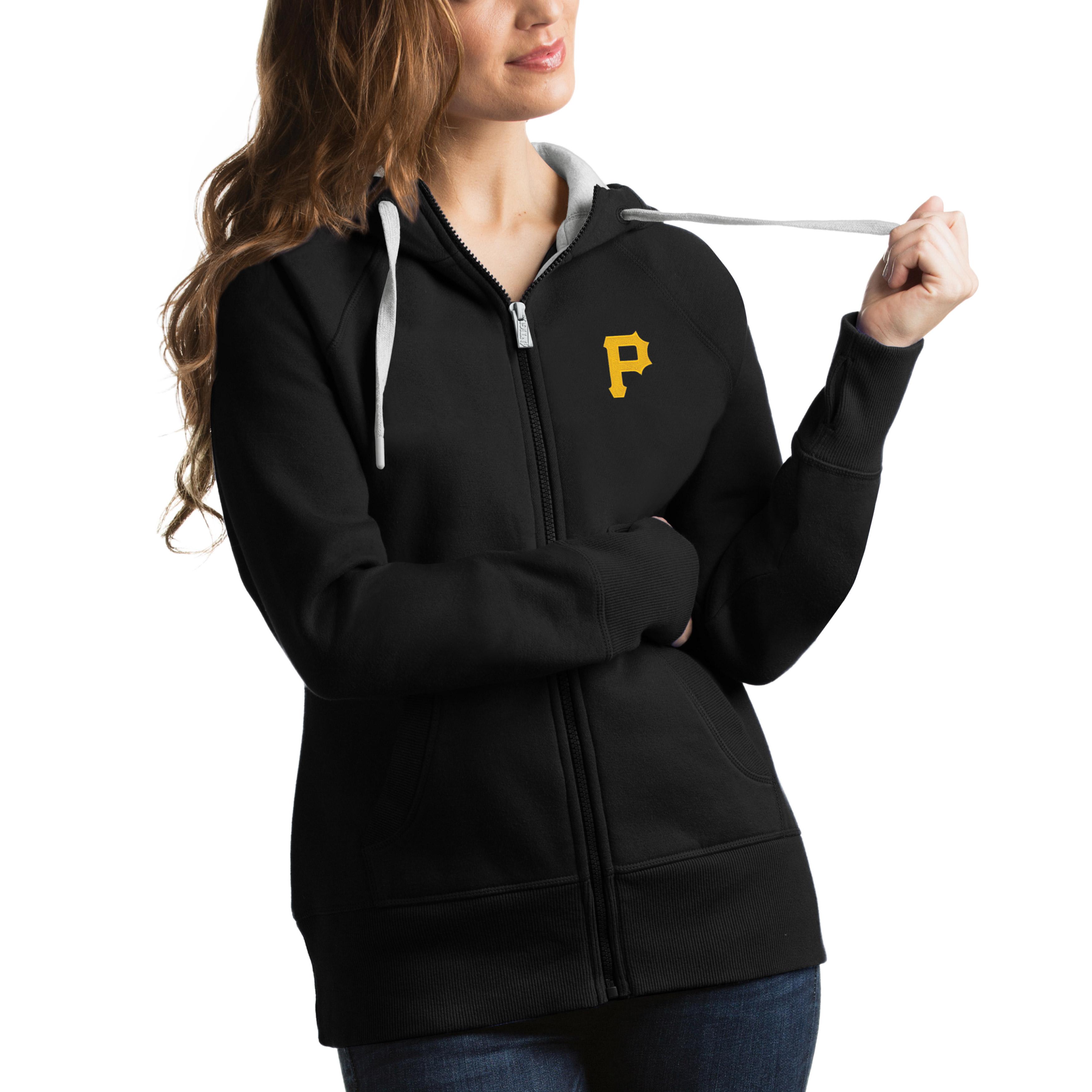 Pittsburgh Pirates Antigua Women's Victory Full-Zip Hoodie - Black