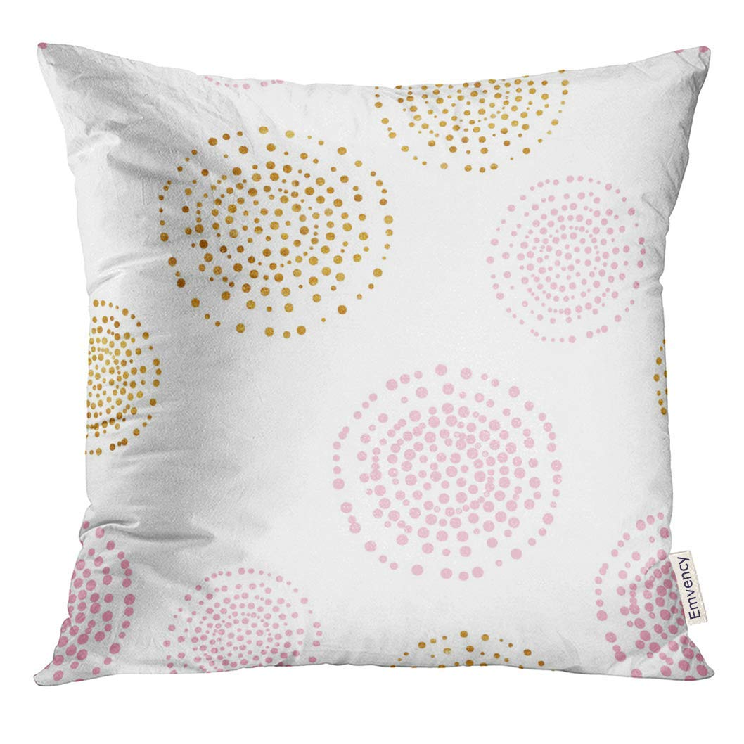USART Black Pink and Gold Dots Pattern Sequins Pillow Case 16x16 Inches Pillowcase