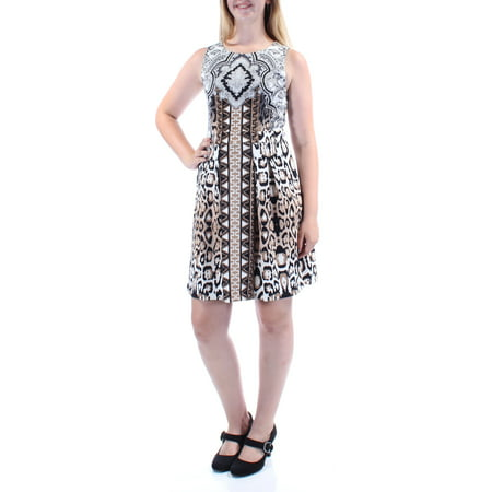 Length Cut Out - INC Womens Brown Cut Out Animal Print Sleeveless Jewel Neck Knee Length Fit + Flare Dress  Size: M