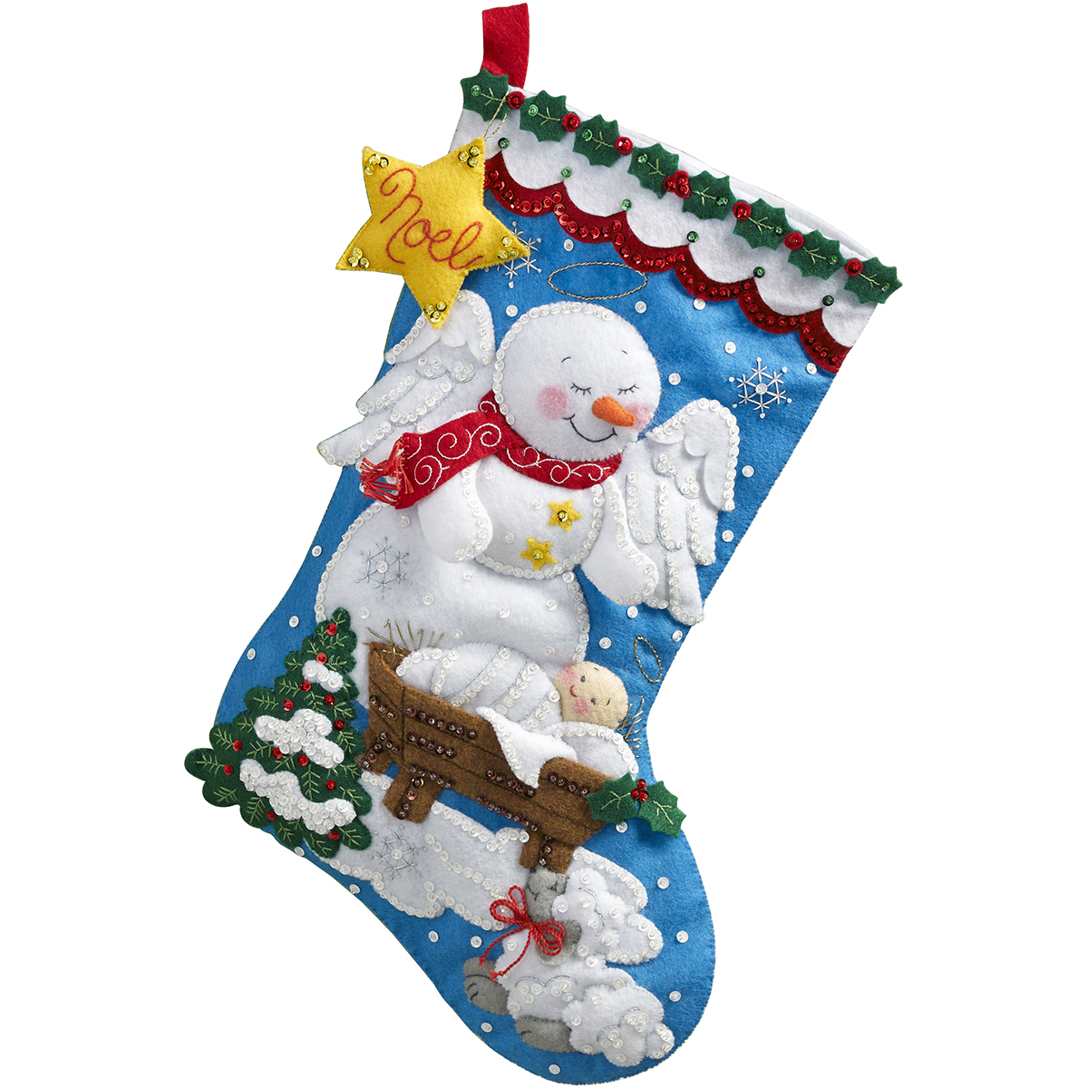 "Bucilla Felt Stocking Applique Kit 18"" Long-Snow Angel"