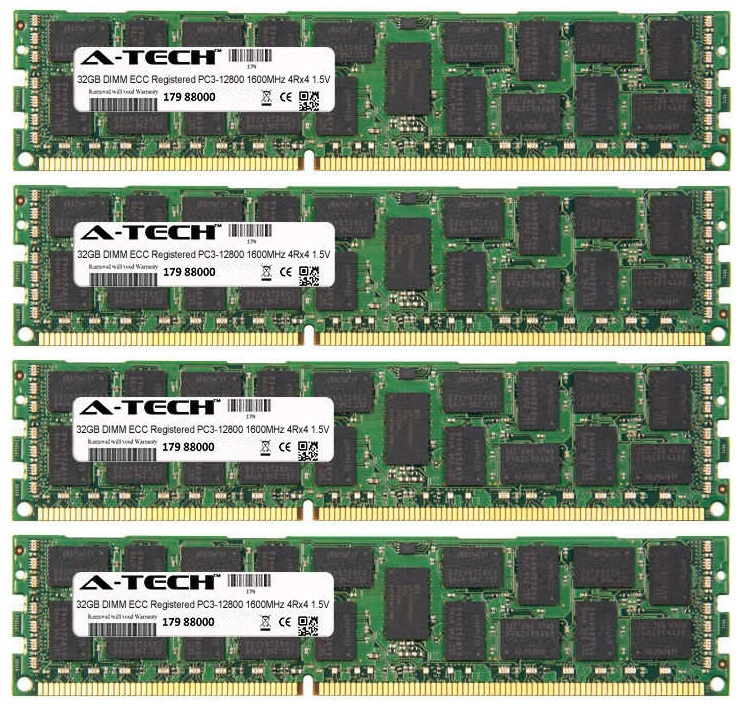 128GB Kit 4x 32GB Modules PC3-12800 1600MHz 1.5V 4Rx4 ECC Registered DDR3 DIMM Server 240-pin Memory Ram