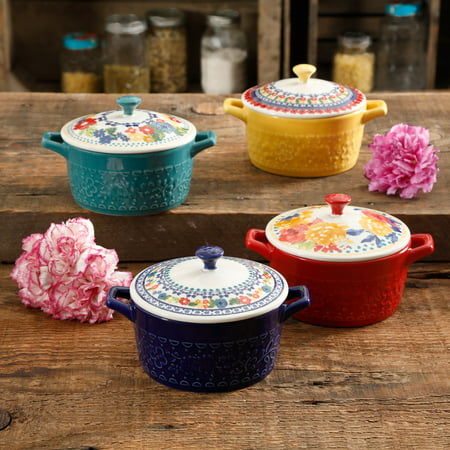 - The Pioneer Woman Floral 6.25-Inch Casserole with Lid, Set of 4