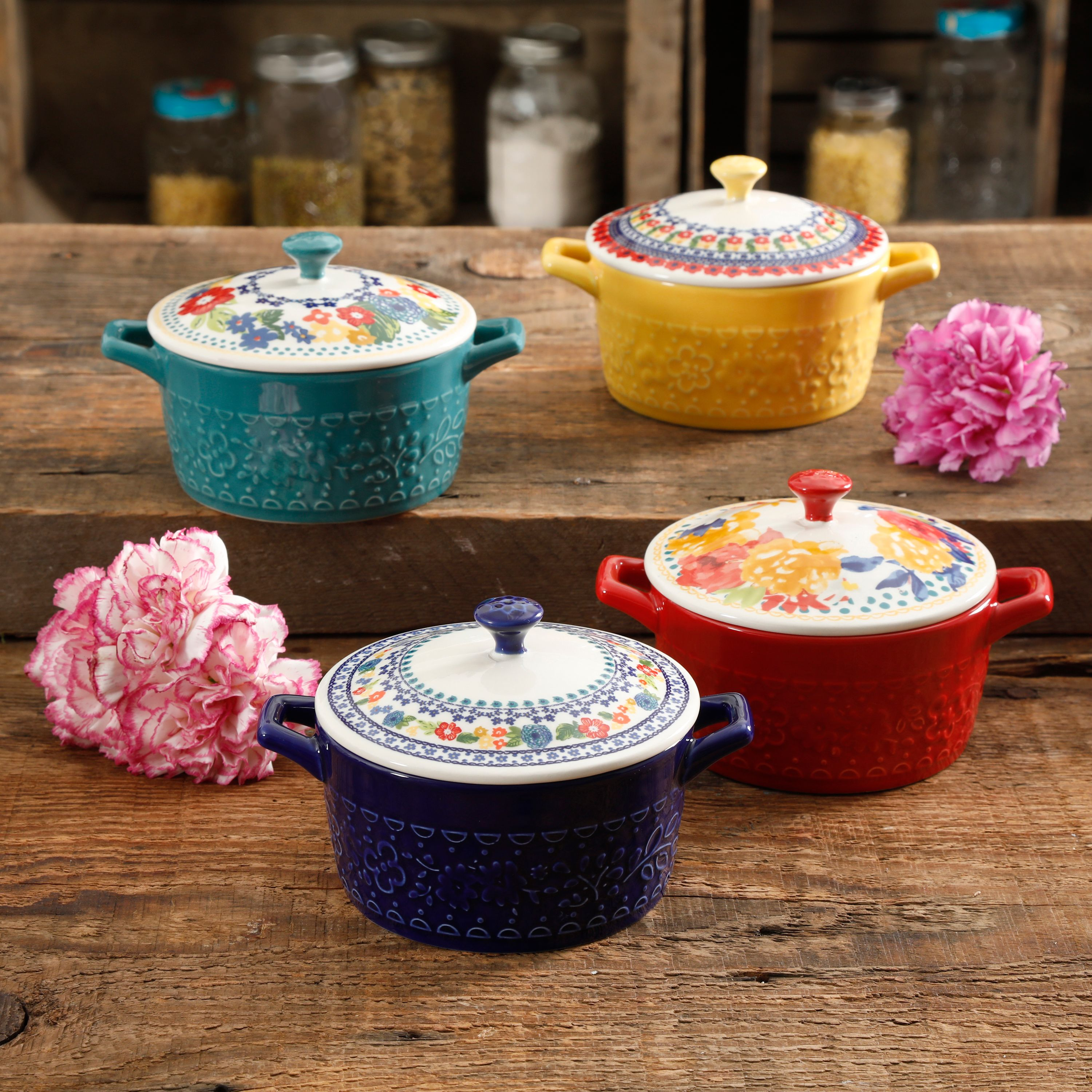 The Pioneer Woman Floral 6.25-Inch Casserole with Lid, Set of 4