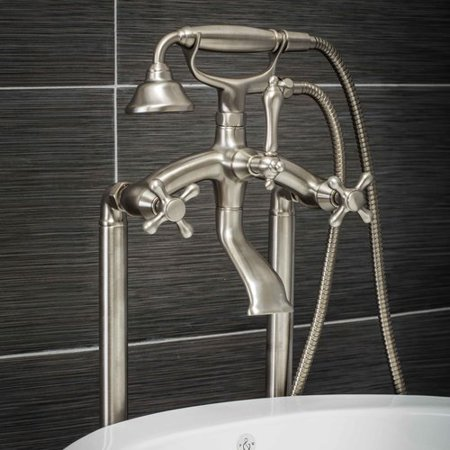 Balance Shower Set Cross Handle (Pelham & White Luxury Clawfoot Tub or Freestanding Tub Filler Faucet, Vintage Design with Telephone Style Hand Shower, Floor Mount Installation, Cross Handles, Brushed Nickel Finish)