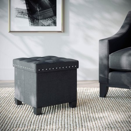 Payton Foldable Storage Ottoman Foot Rest and Seat with Feet, Cube Black Upholstered Fabric, Rose Wood Tray ()