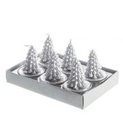 Silver Pinecone Tree Tea Light candle Set Of 6