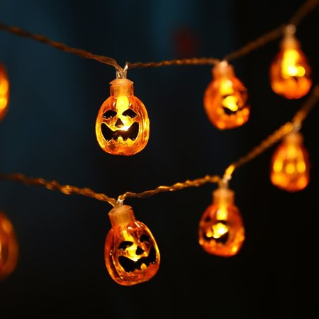LUCKLED 20 LED Battery Powered 3D Pumpkin Halloween String Lights, Fairy Decorative Warm White Jack-O-Lantern Lights for Indoor and Outdoor, Patio, Party, Festival Decorations for $<!---->