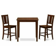 East West Furniture VNBU3-MAH-LC 3 Piece Counter Height Table-Pub Table and 2 Dinette Chairs