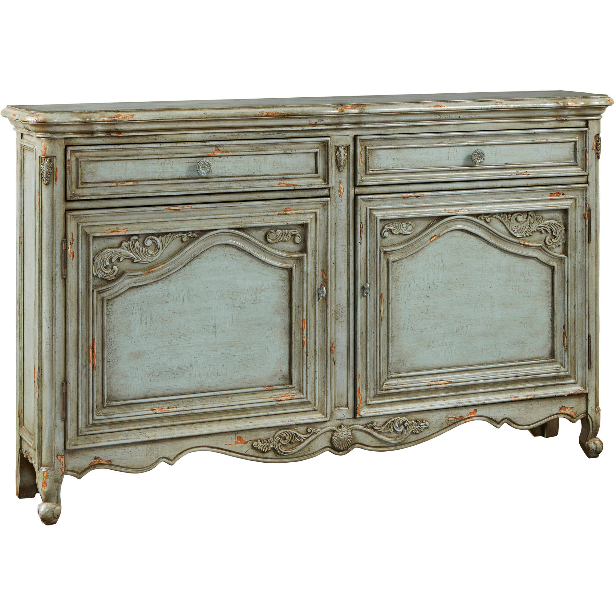Russelle Distressed Blue Carved Door Credenza