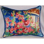 "Betsy Drake HJ375 Hollyhocks Art Only Pillow 16""x20"""