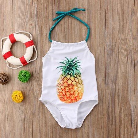 Baby Girls One Piece Swimsuit Halter Neck Backless Fruit Printing Swimwear Bathing Suit
