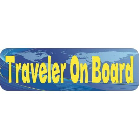 10x3 Traveler On Board Bumper Sticker Vinyl Window Stickers Hobbies Door