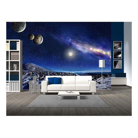 wall26 - Night Space Landscape. Milky Way Galaxy and Planets Over Mountains - Removable Wall Mural | Self-Adhesive Large Wallpaper - 100x144 inches](Halloween Night Wallpaper)