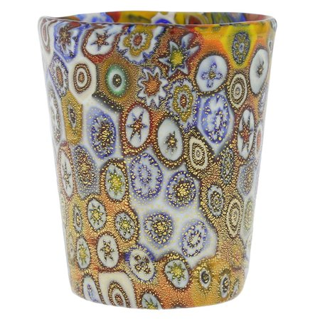 GlassOfVenice Murano Glass Millefiori Shot Glass - Gold