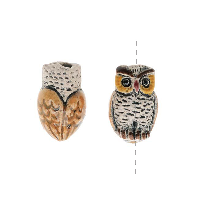Ceramic Bead - Tiny Matte Owl With Glazed Wings 7x11mm (2)