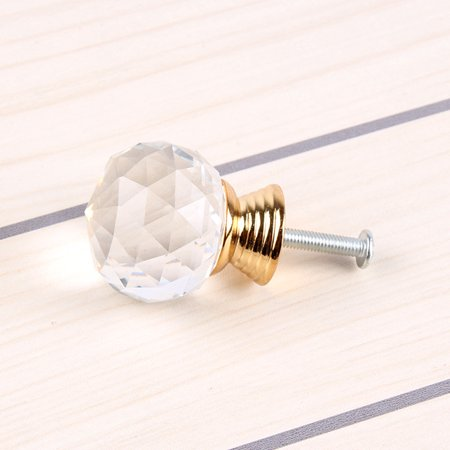 Simple Crystal Ball Door Knobs Zinc Alloy Golden Pull Handle for Cabinet Drawer Wardrobe Cupboard Kitchen Door - image 3 of 3