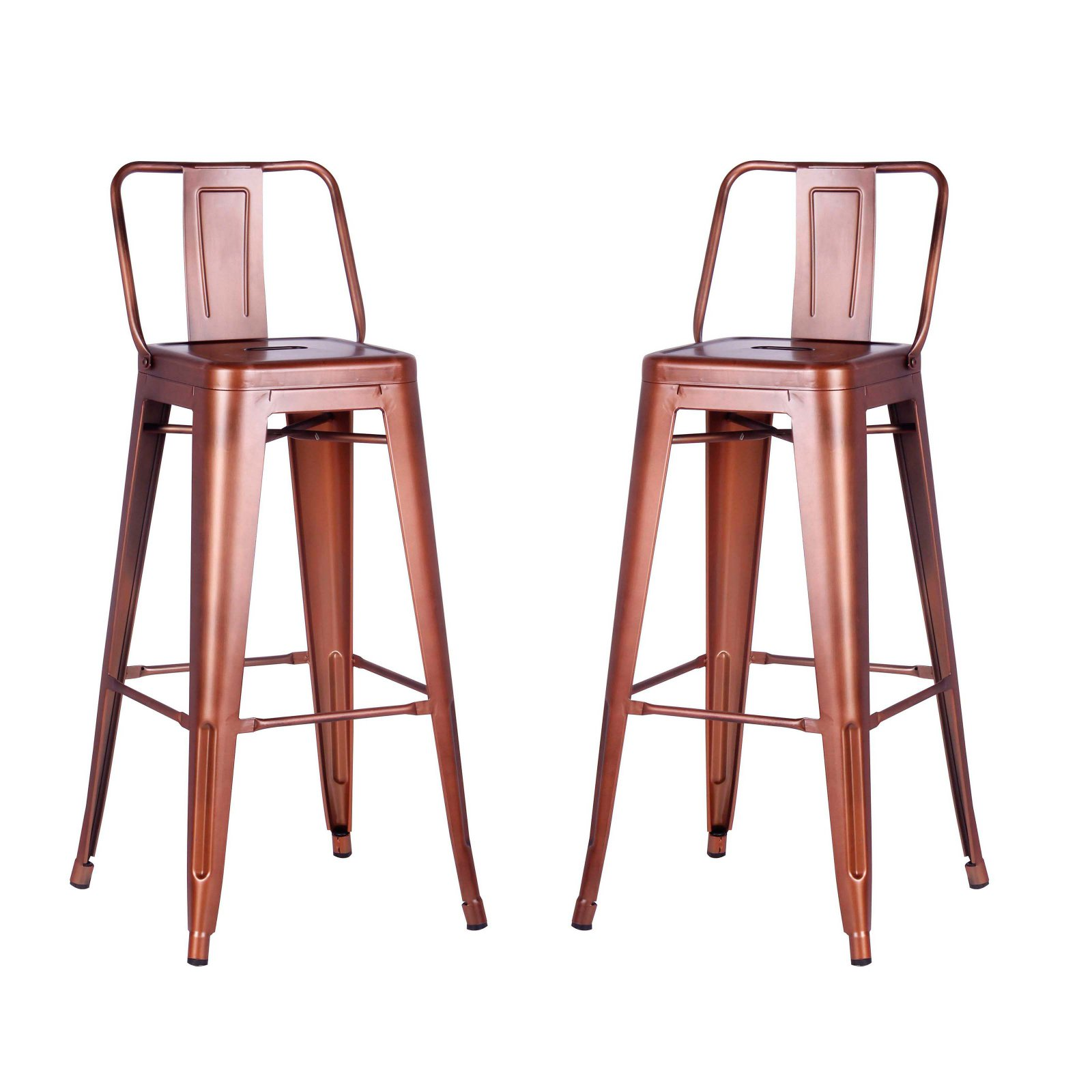 Christies Home Living 30 In Distressed Metal Bar Stool With Back