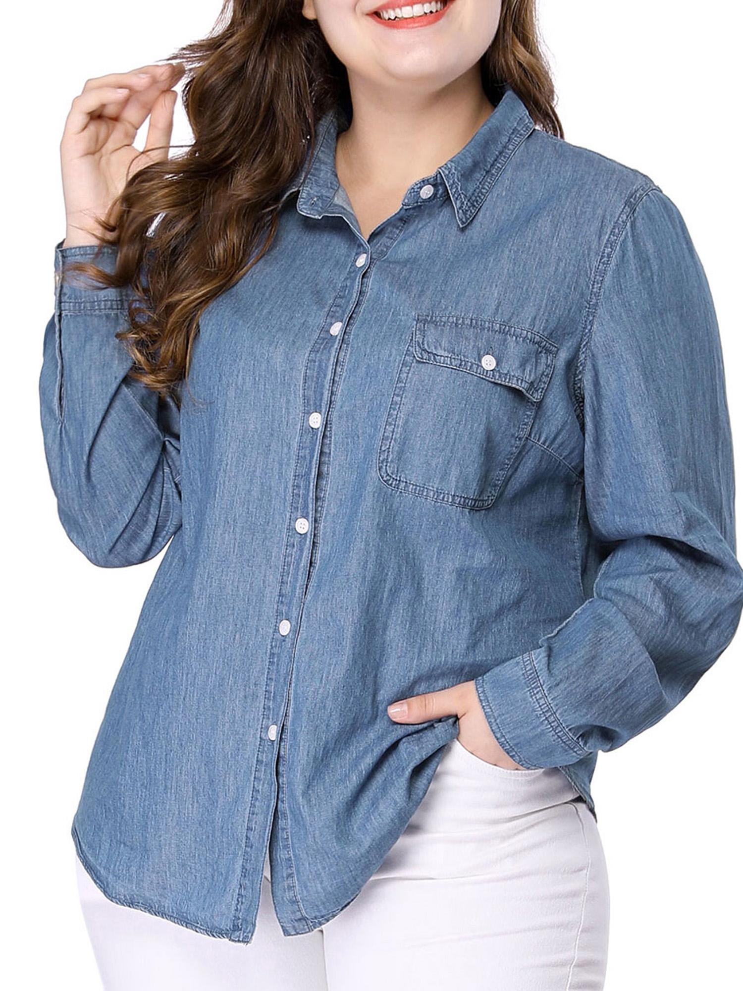 Unique Bargains Women\'s Plus Size Chambray Shirt Blue (Size 5X) -  Walmart.com