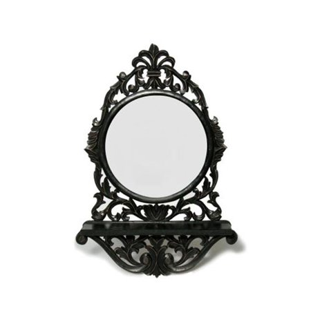 the veda company 4302 round mirror with shelf. Black Bedroom Furniture Sets. Home Design Ideas