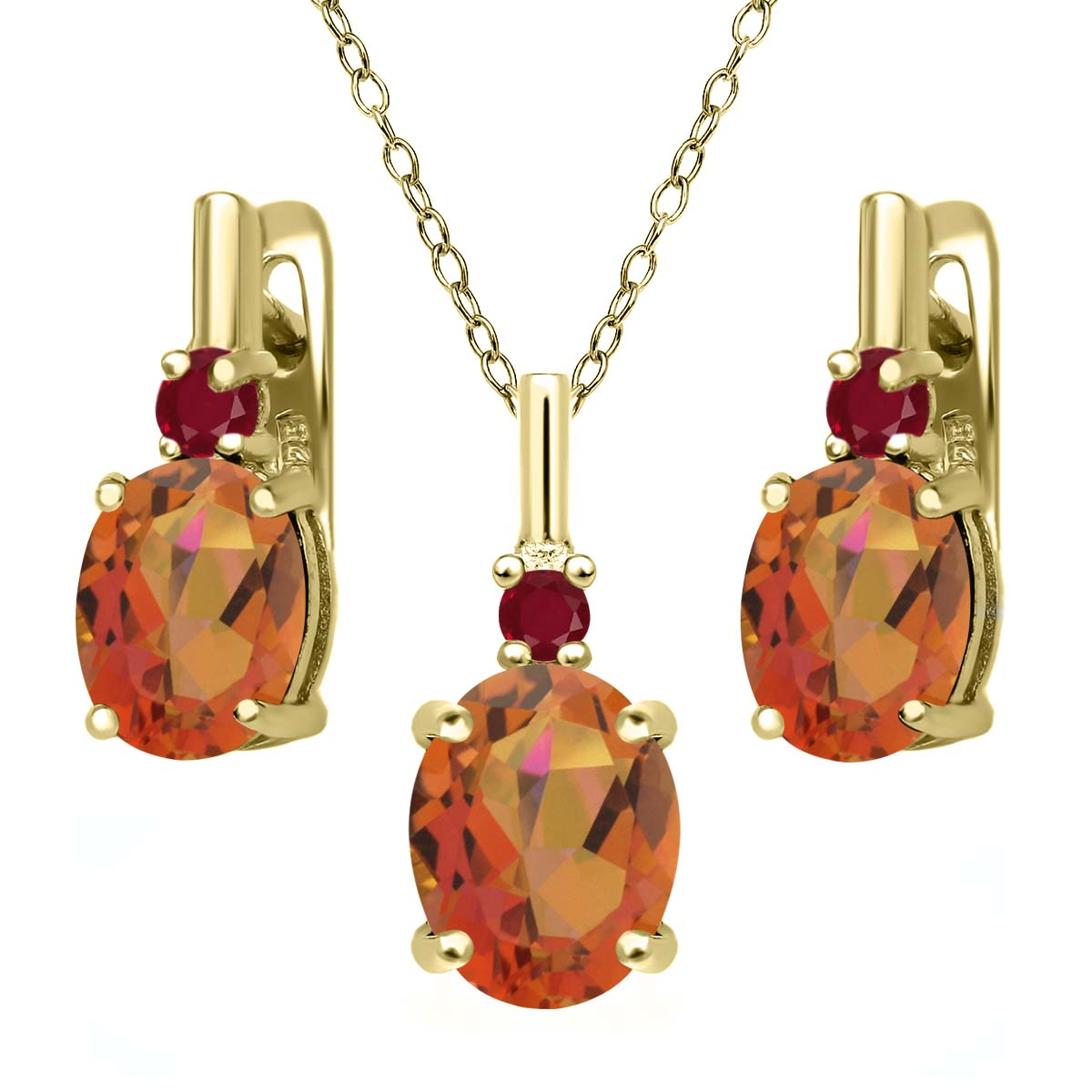 7.02 Ct Twilight Orange Mystic Quartz Red Ruby 18K Yellow Gold Plated Silver Pendant Earrings Set by