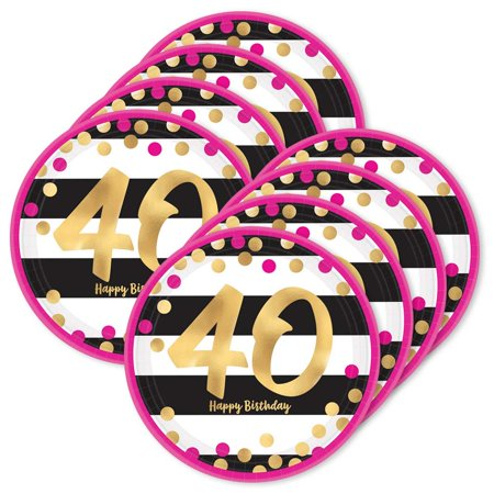 Pink & Gold 40th Birthday Metallic DessertPlates (24) - 40th Birthday Paper
