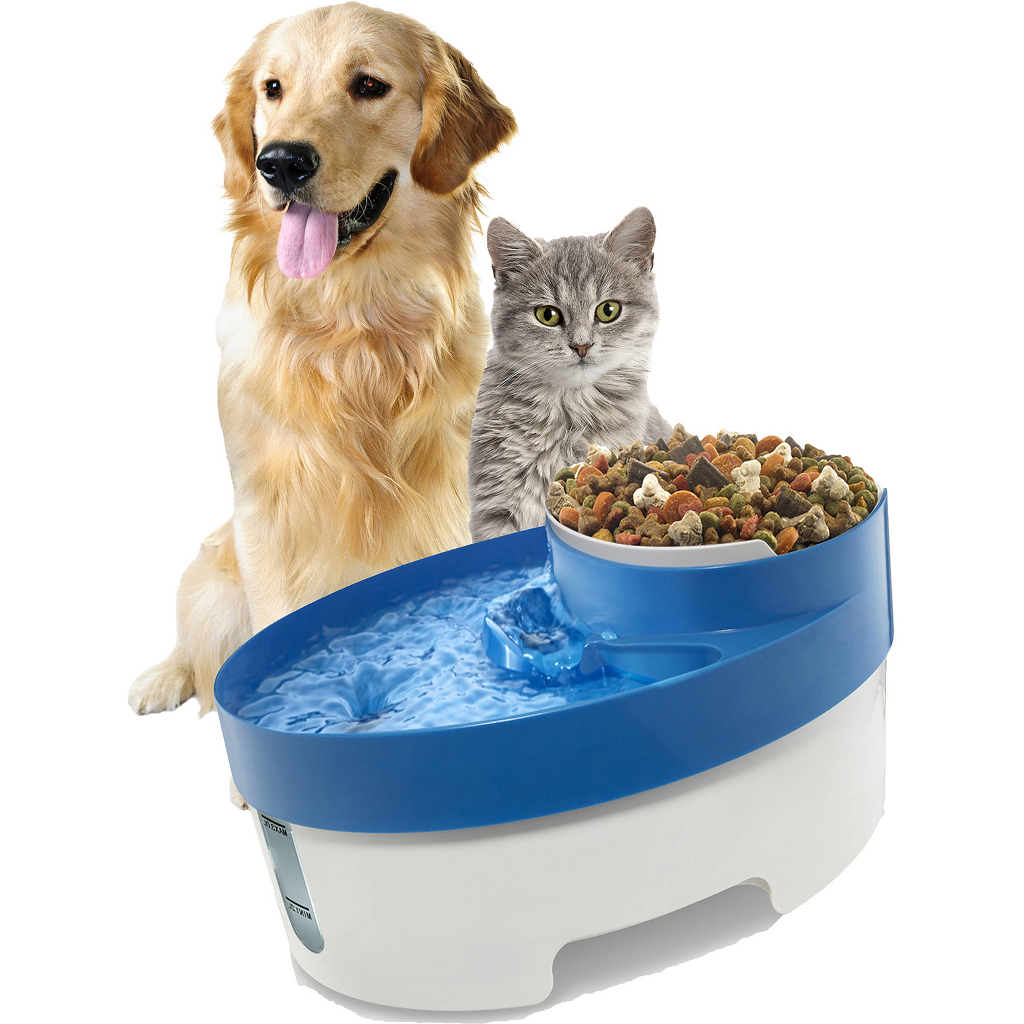 Oxgord Pet Fountain Water and Food Bowl Feeder with Water Filter