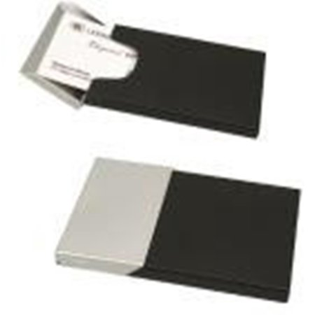 Piano Finish Business Card Holder - Elegance Business Card Case, Matte Black and Chrome Finish