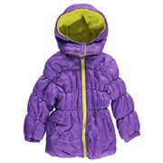 Little Girls Purple Lime Zipper Hooded Winter Puffer Coat 2T