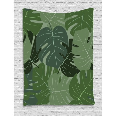 Forest Green Tapestry, Camouflage Pattern of Palm Leaves Tropical Nature Themed Foliage, Wall Hanging for Bedroom Living Room Dorm Decor, 40W X 60L Inches, Sage Green Pale Green, by Ambesonne