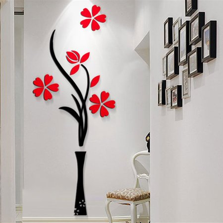 3D Wall Sticker,Kapmore Novelty Flower Potted Plant Wall Art Decals Decor  for Home Bedroom Living Room