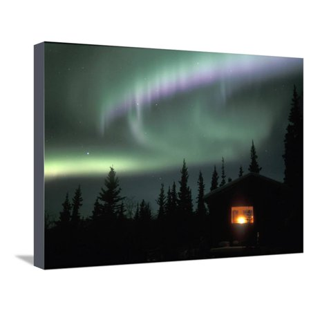 Aurora Borealis on a Cold Winter Night over a Cabin in the Taiga, Alaska, USA Stretched Canvas Print Wall Art By Tom (Best Cabins On Aurora)