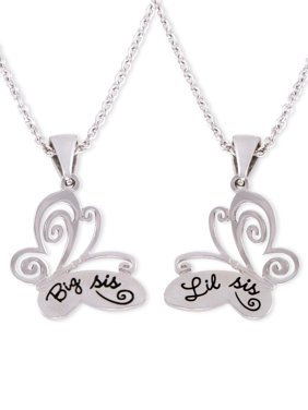 Connections from Hallmark Stainless Steel Big Sis and Lil Sis Butterfly Pendants, 18? with 2? Extender