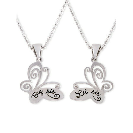 Stainless Steel Lock Pendant - Stainless Steel Big Sis and Lil Sis Butterfly Pendants, 18 With 2 Extender
