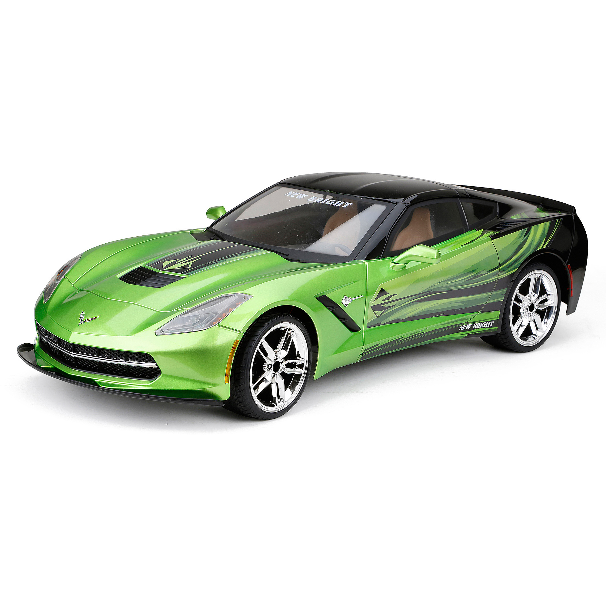 New Bright 1:8 Radio Control Full-Function 9.6V Corvette C7, Green by New Bright