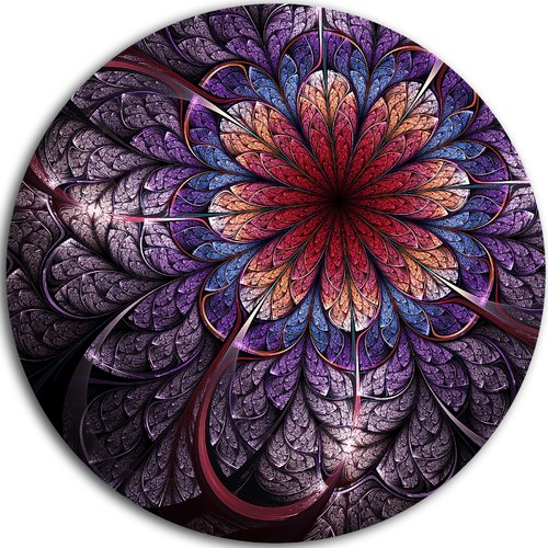 Design Art 'Glittering Bright Colorful Fractal Flower' Graphic Art Print on Metal