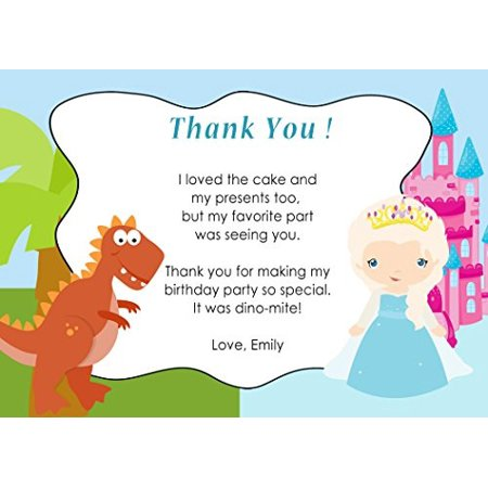 30 Thank You Cards Note T Rex Dinosaur Castle Winter Princess Design Twins Siblings Baby Shower Birthday Party Personalized White Envelopes