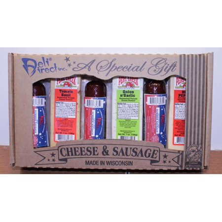 - 6-Piece Gourmet Wisconsin Variety Sausage and Cheese Party Sampler Gift Basket