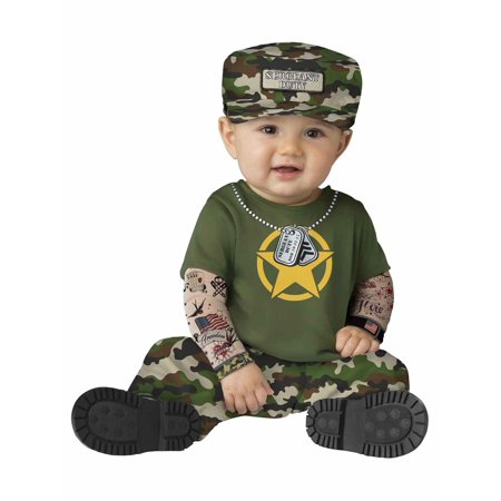 Infant Baby Boys Sergeant Duty Camo Soldie Costume Private Jumper & Hat 12-18m
