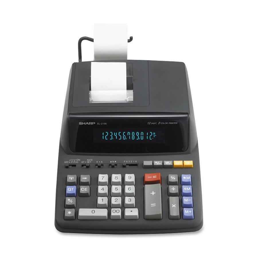 Sharp Calculators, SHREL2196BL, EL-2196BL 12-Digit Printing Calculator, 1 Each, Black