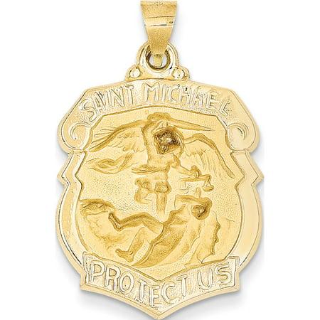 14k or jaune poli et satin? St. Michael M?daille Badge (21x28mm) Pendentif / Breloque - image 2 de 2